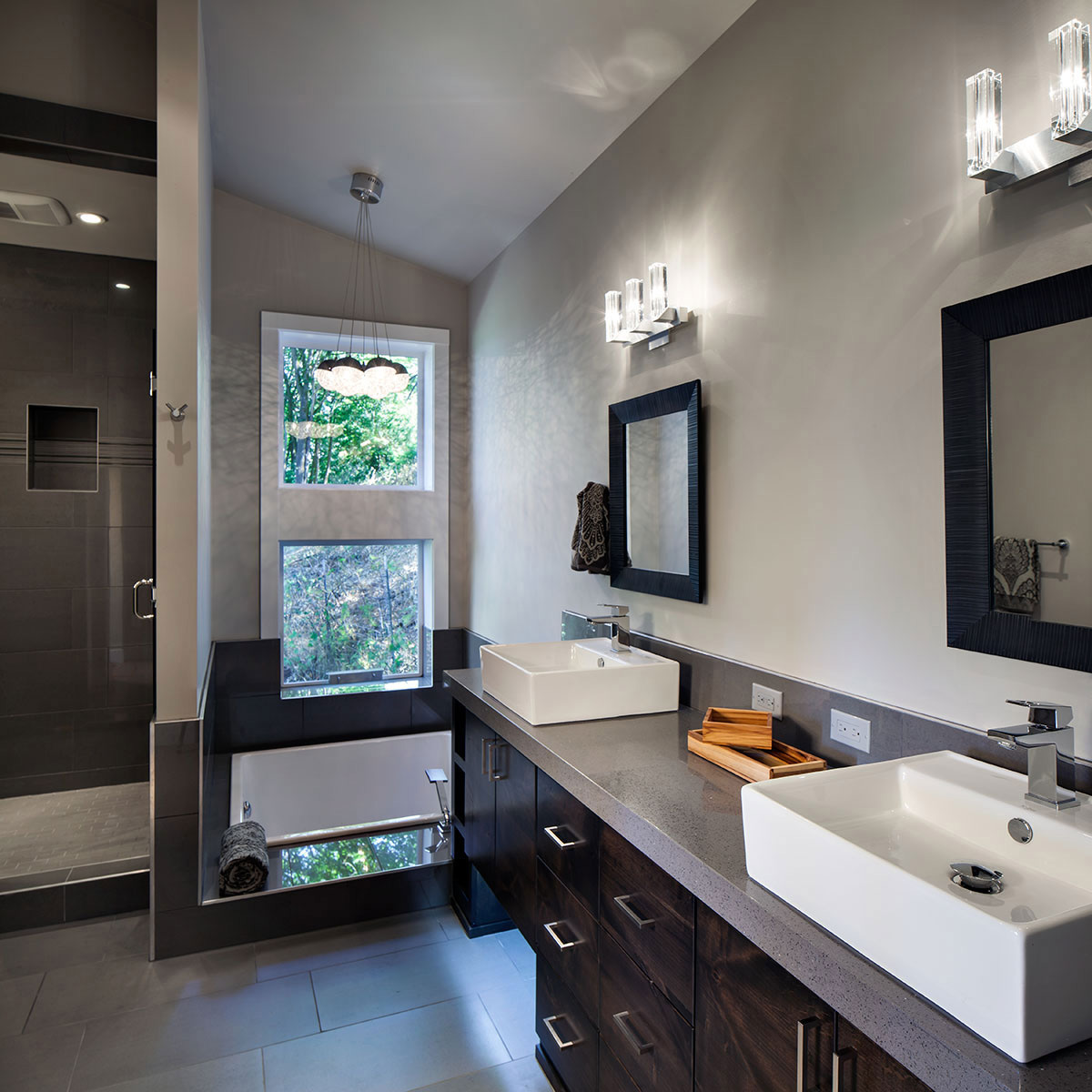 Double Sinks, Bathroom, Modern Home in Eugene, Oregon by Jordan Iverson Signature Homes