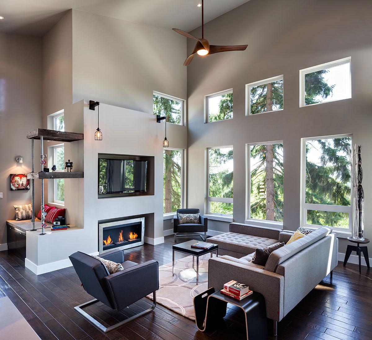 Fireplace, Sofas, Living Space, Modern Home in Eugene, Oregon by Jordan Iverson Signature Homes