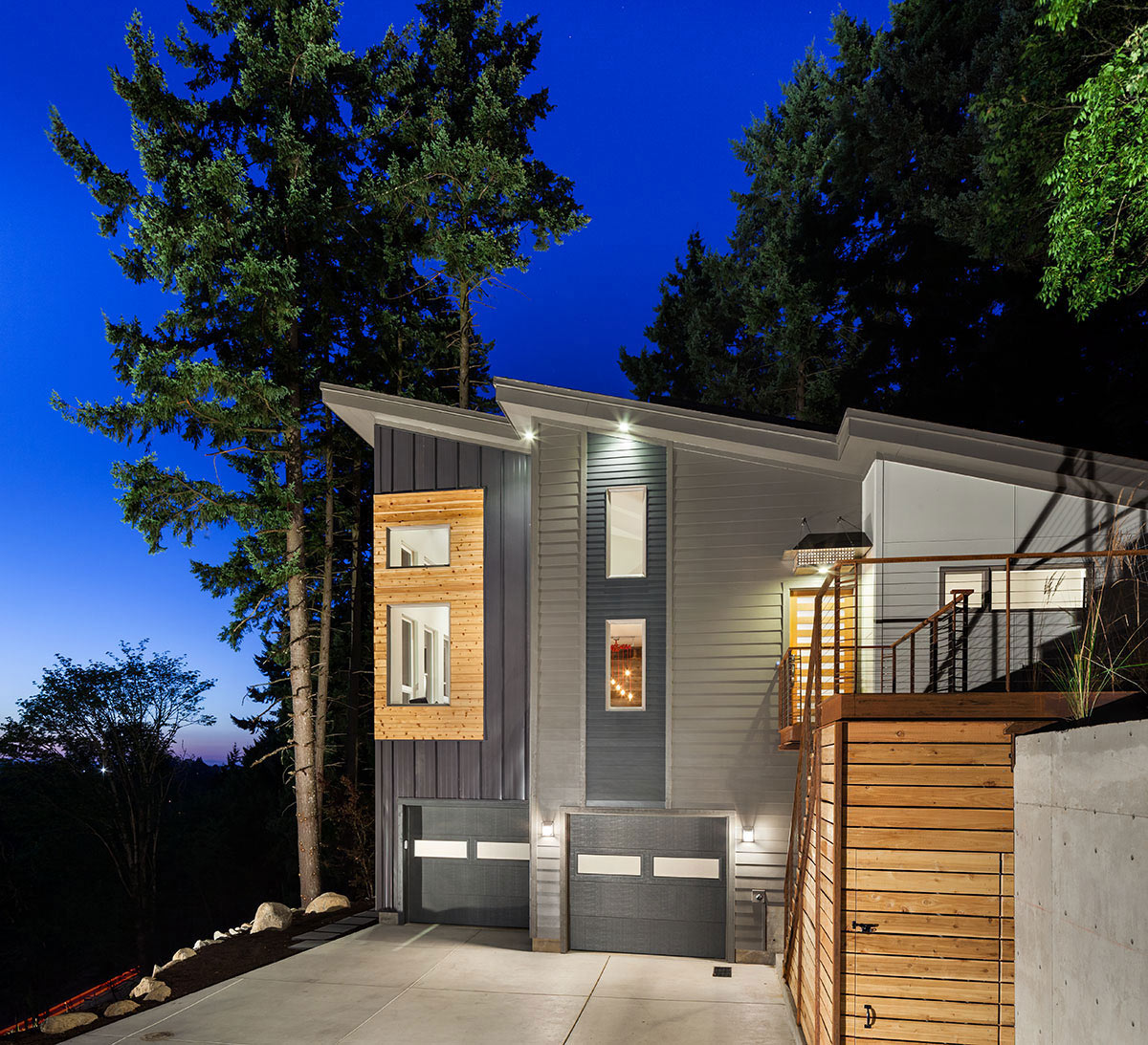 Garages, Dusk, Lighting, Modern Home in Eugene, Oregon by Jordan Iverson Signature Homes