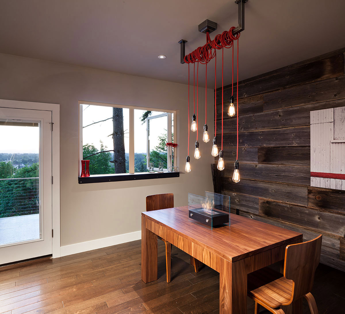 Dining, Lighting, Rustic Wall, Modern Home in Eugene, Oregon by Jordan Iverson Signature Homes
