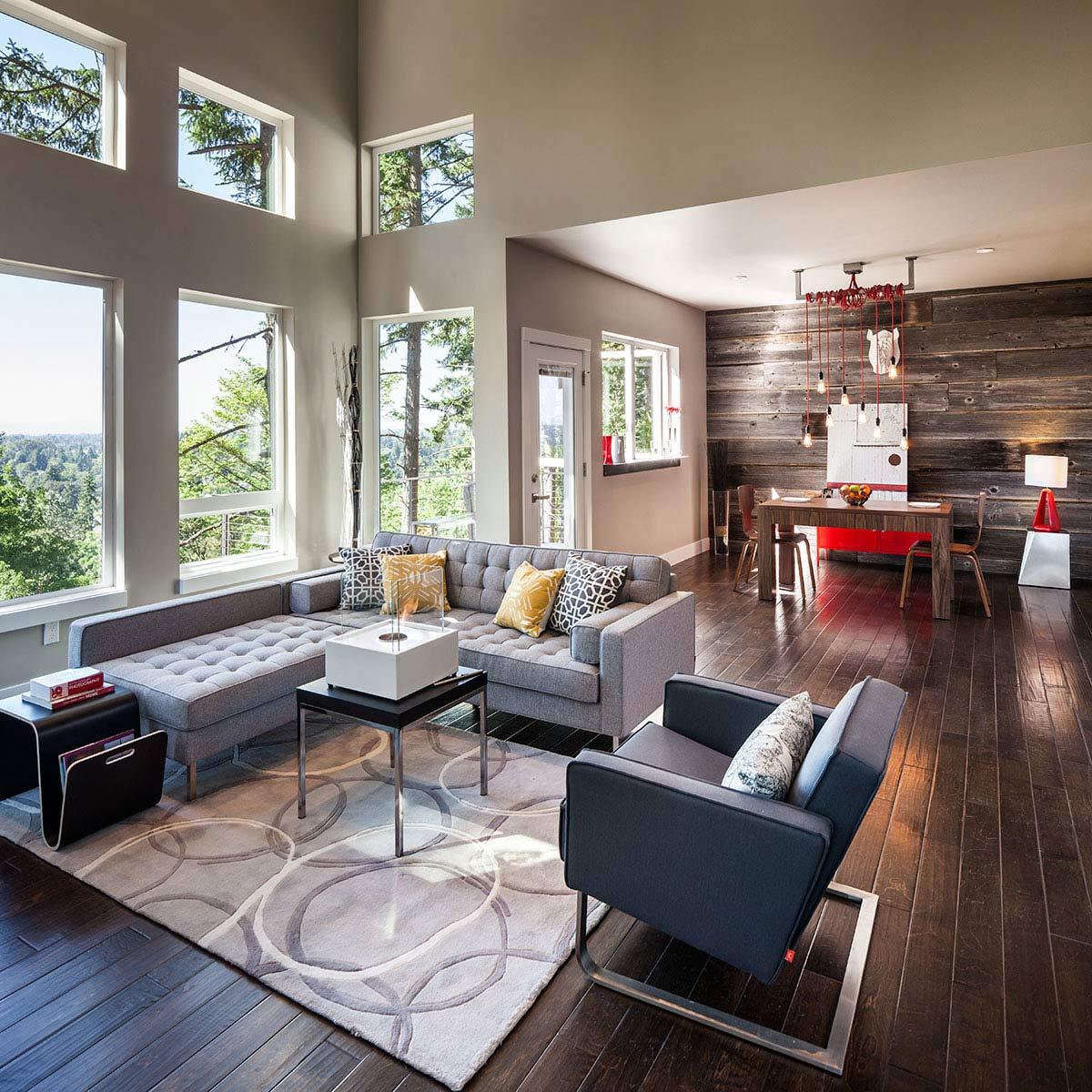 Open Plan Dining, Living, Modern Home in Eugene, Oregon by Jordan Iverson Signature Homes