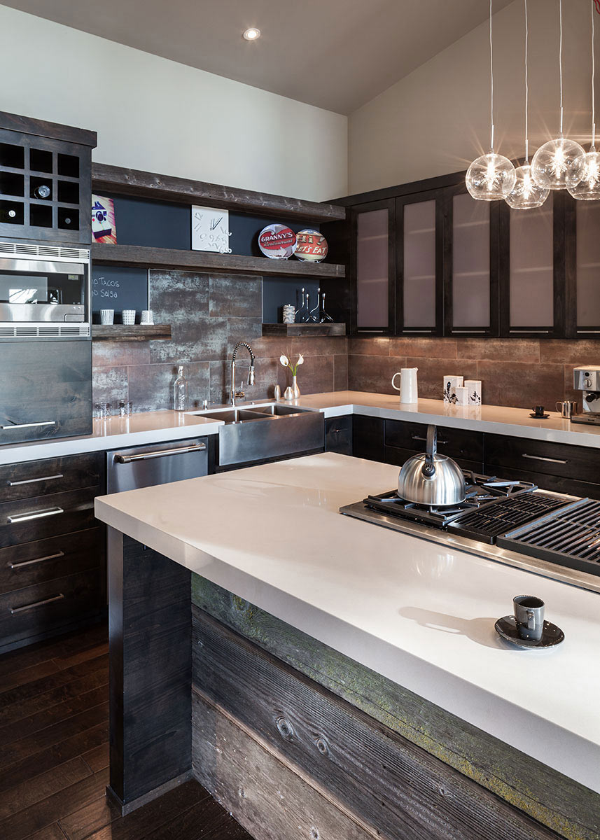 Rustic Kitchen Island, Modern Home in Eugene, Oregon by Jordan Iverson Signature Homes