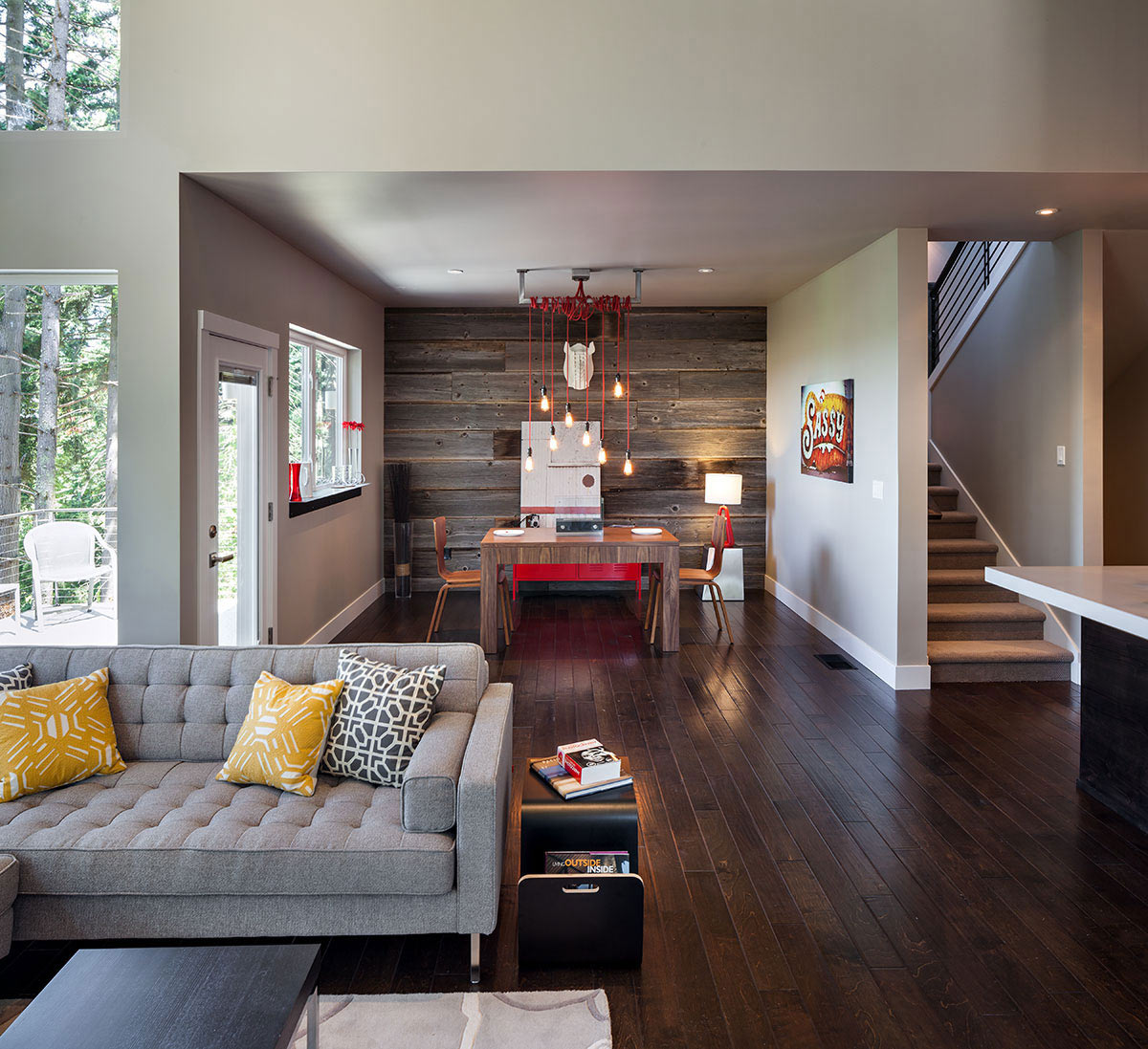 Stairs, Dining, Living Space, Modern Home in Eugene, Oregon by Jordan Iverson Signature Homes