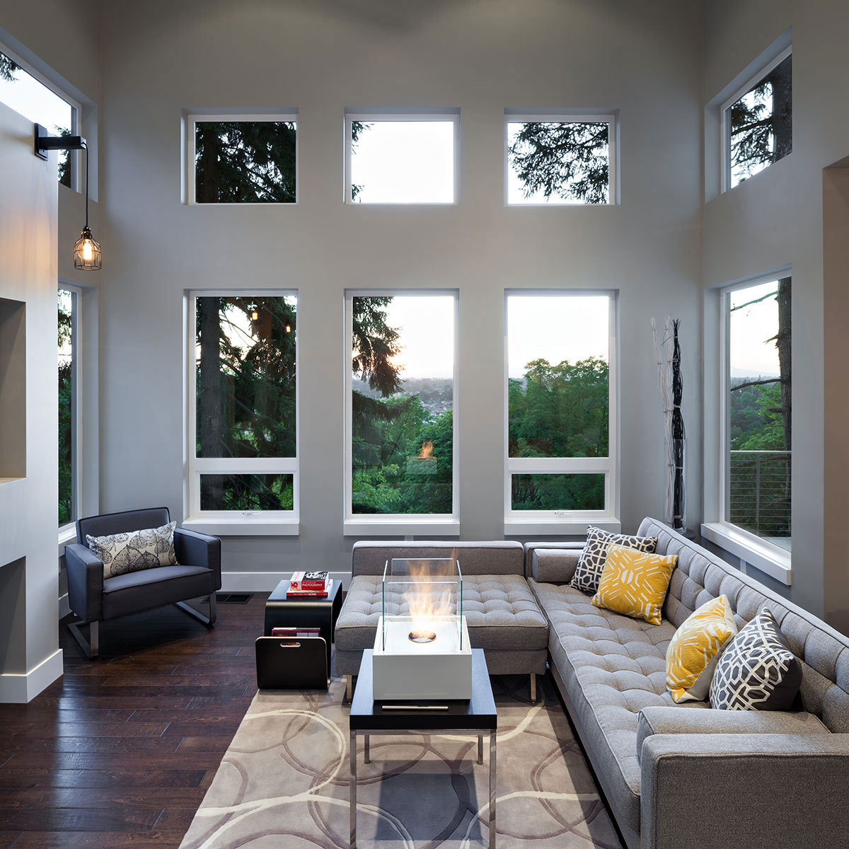 Views, Sofa, Fireplace, Modern Home in Eugene, Oregon by Jordan Iverson Signature Homes