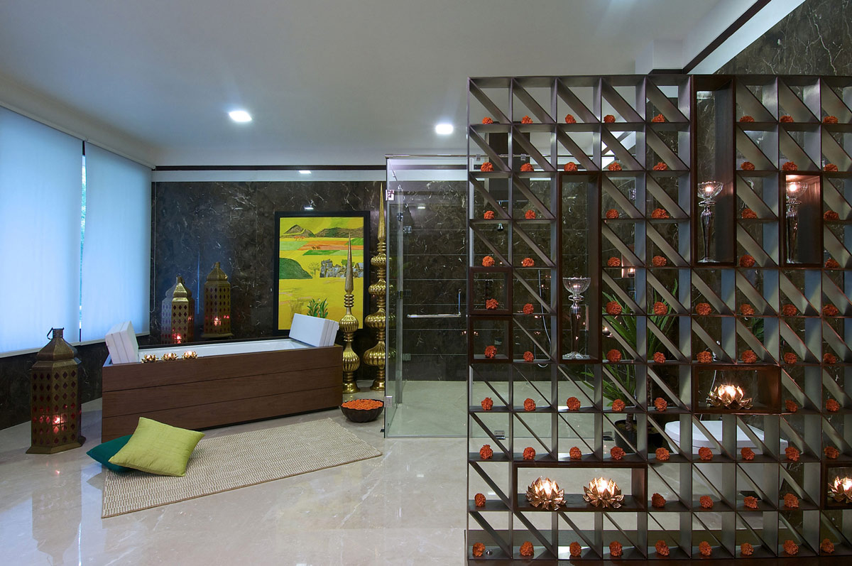 Bathroom, Glass Shower, Contemporary House in Ahmedabad, India