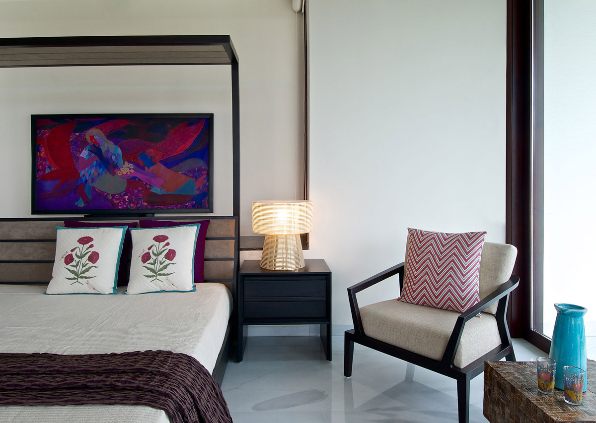 Bedroom, Contemporary House in Ahmedabad, India