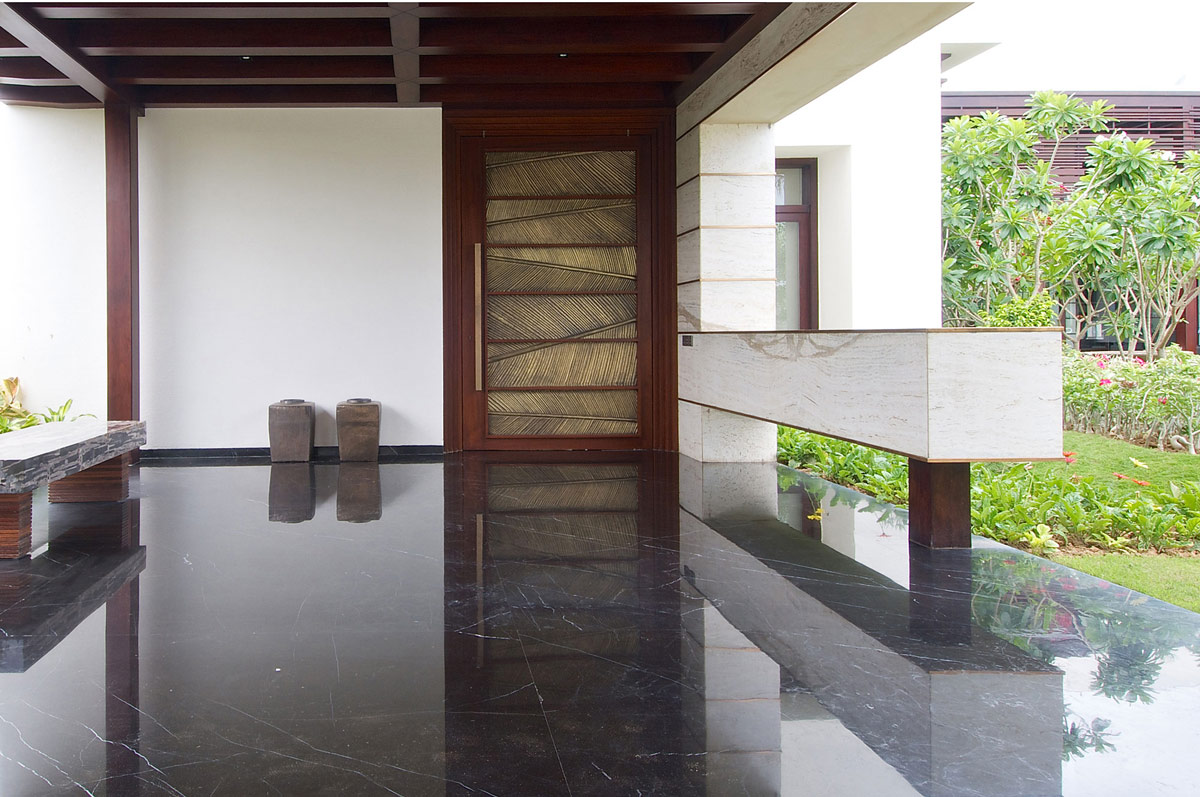 Dark Floor Tiles Contemporary House In Ahmedabad India