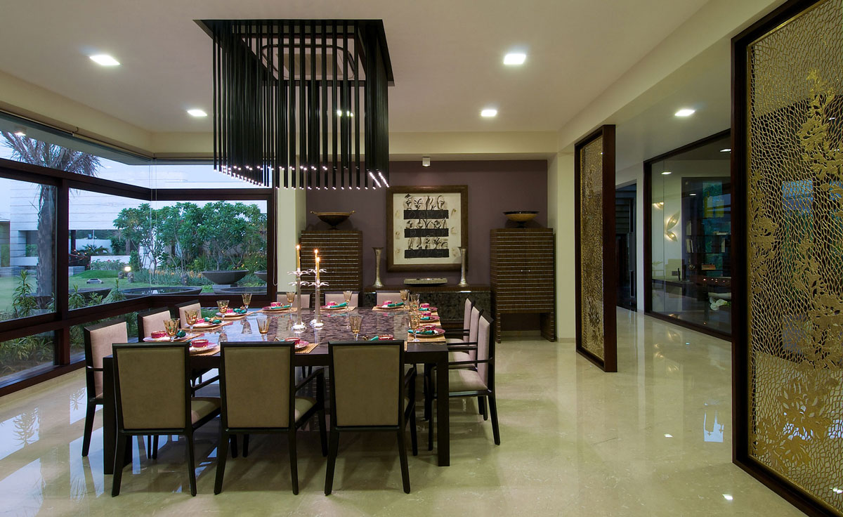 Dining Table, Lighting, Contemporary House in Ahmedabad, India
