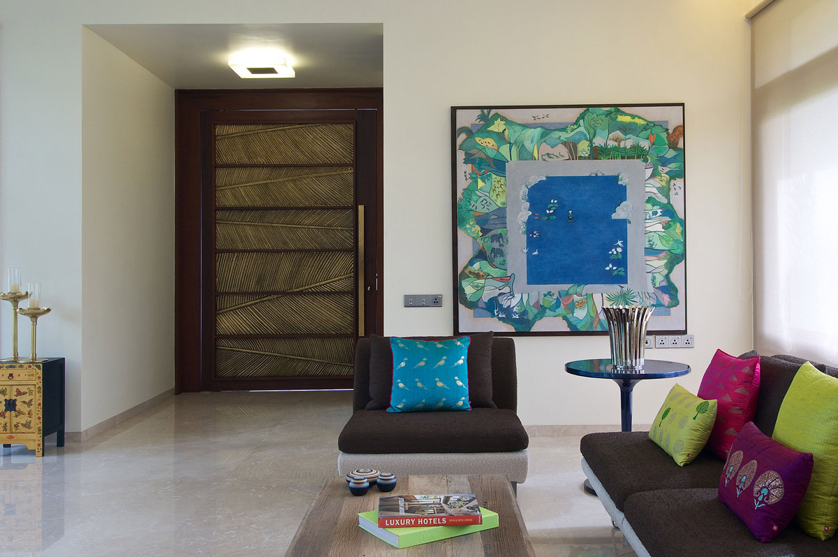 Entrance, Art, Living Space, Contemporary House in Ahmedabad, India