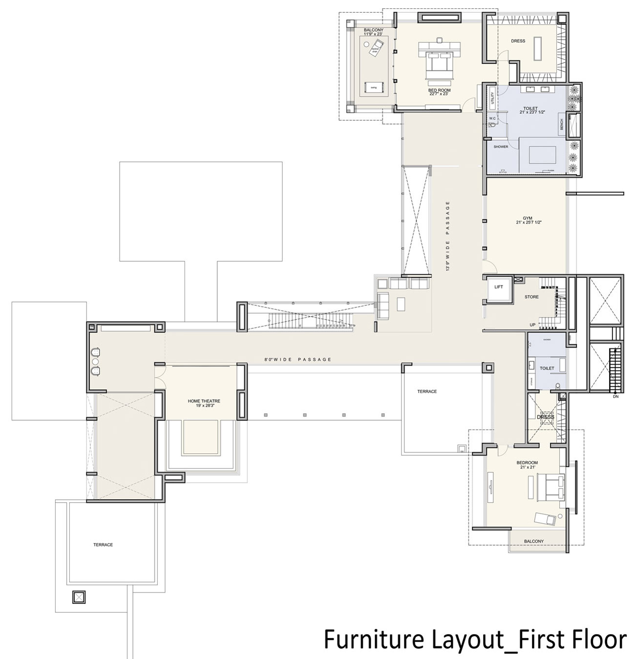 First Floor Furniture Layout Contemporary House In Ahmedabad India