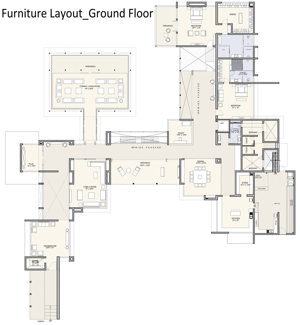 Ground Floor Furniture Layout, Contemporary House in Ahmedabad, India