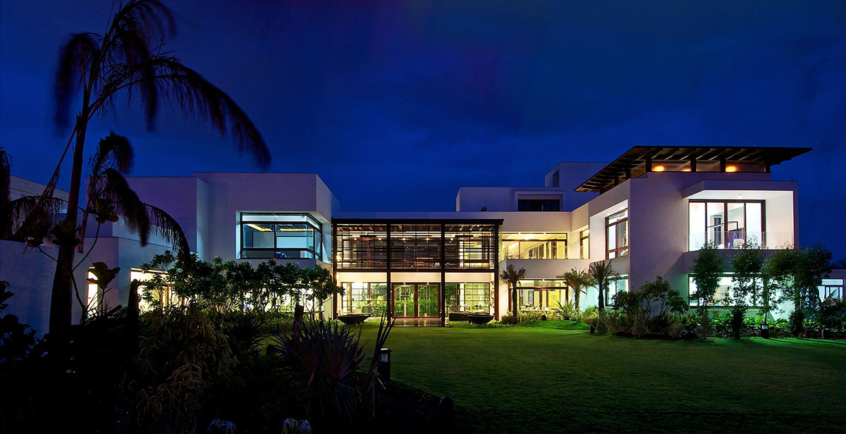 Evening, Lighting, Contemporary House in Ahmedabad, India