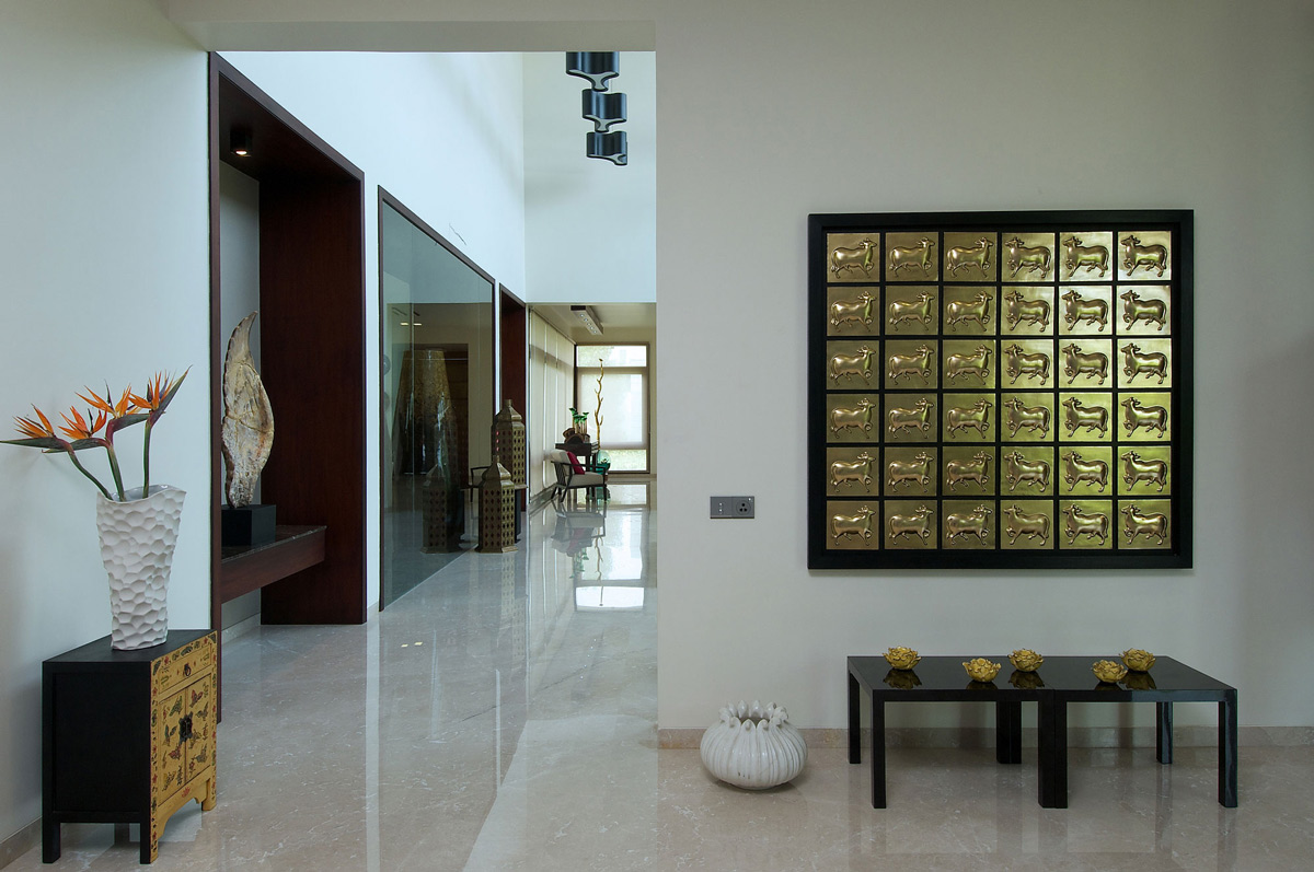 Marble Floors, Art, Contemporary House in Ahmedabad, India