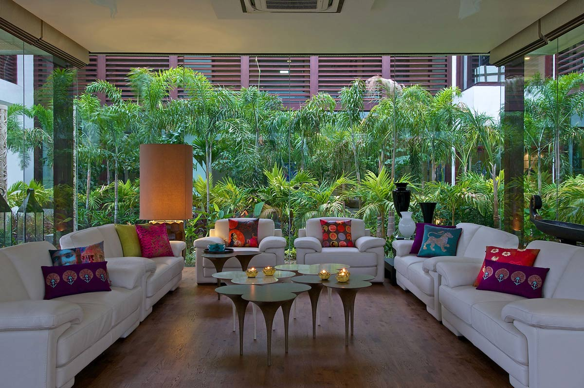 Sofas, Glass Walls, Contemporary House in Ahmedabad, India