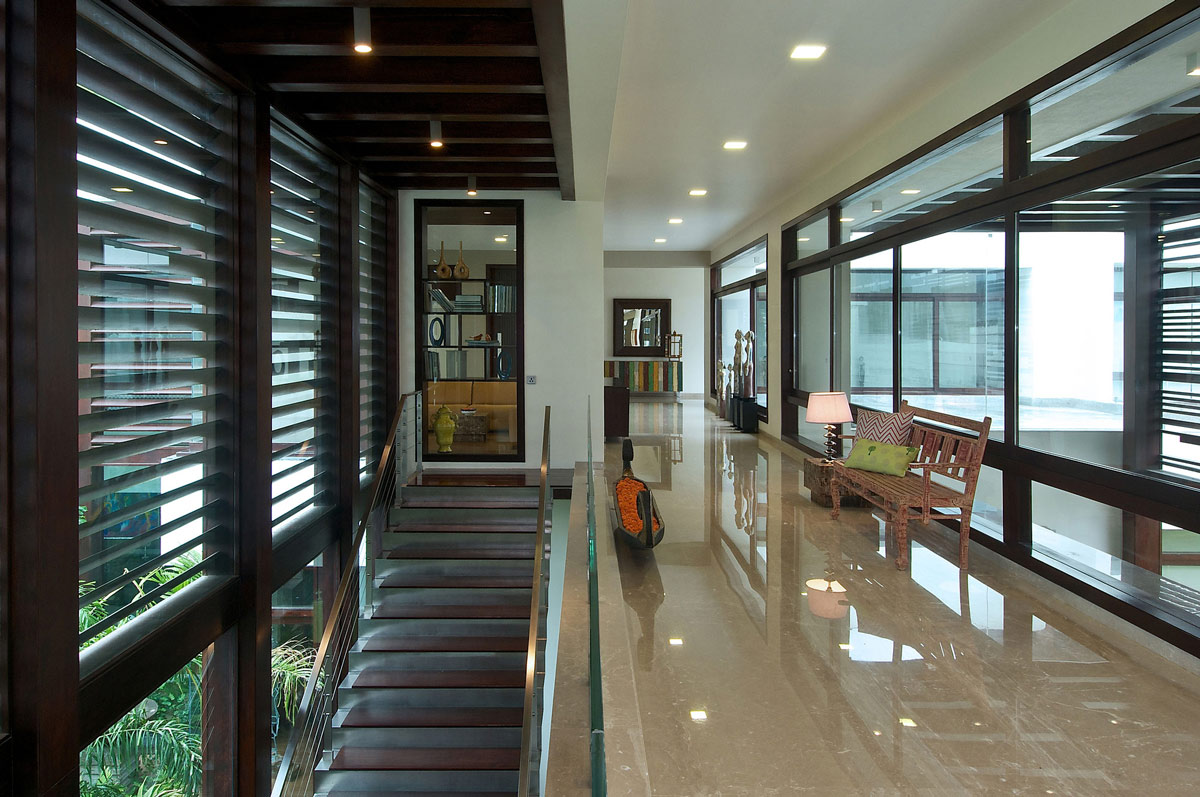 Stairs, Hall, Contemporary House in Ahmedabad, India