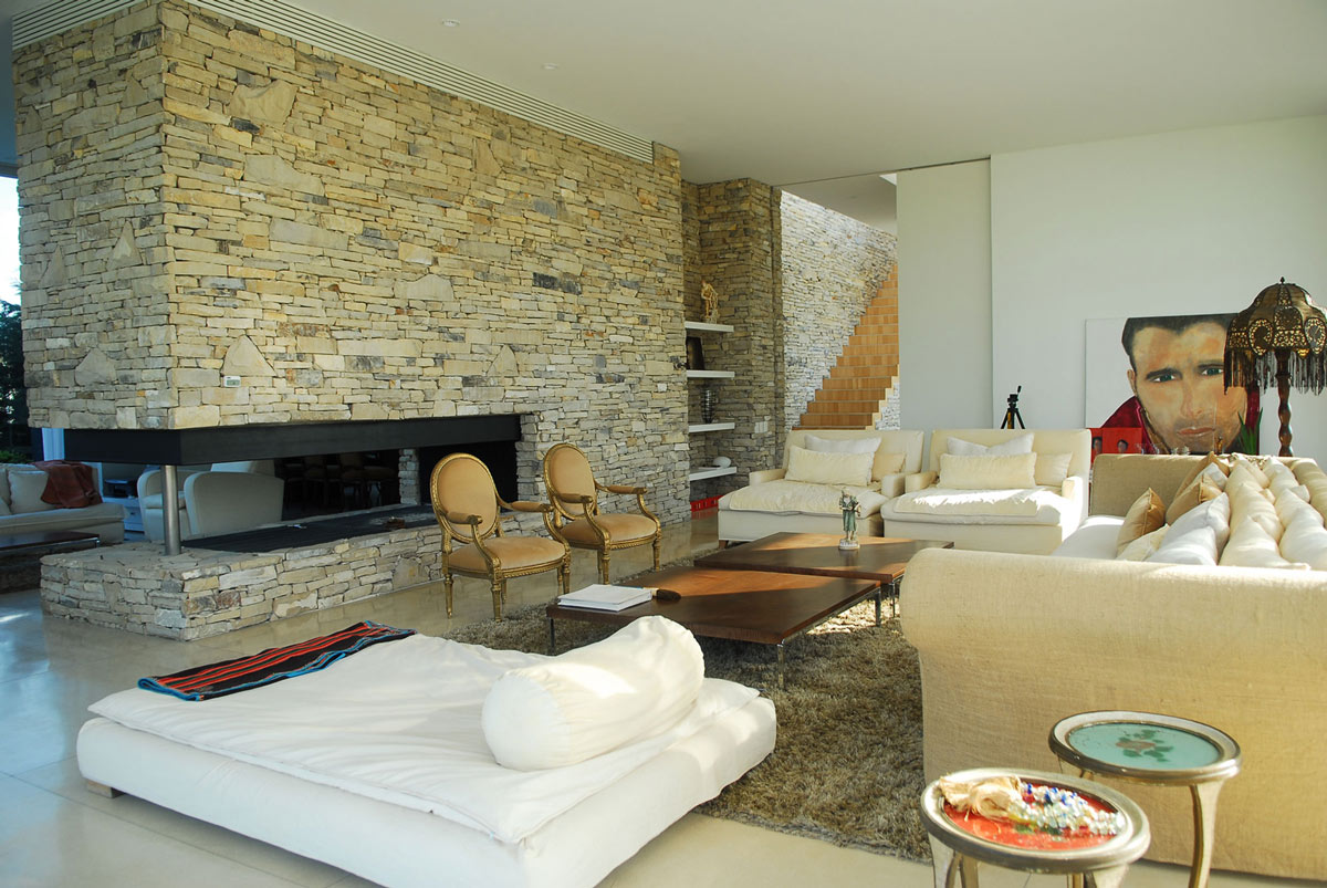Contemporary Stone Fireplace, Modern Riverside House in Buenos Aires, Argentina