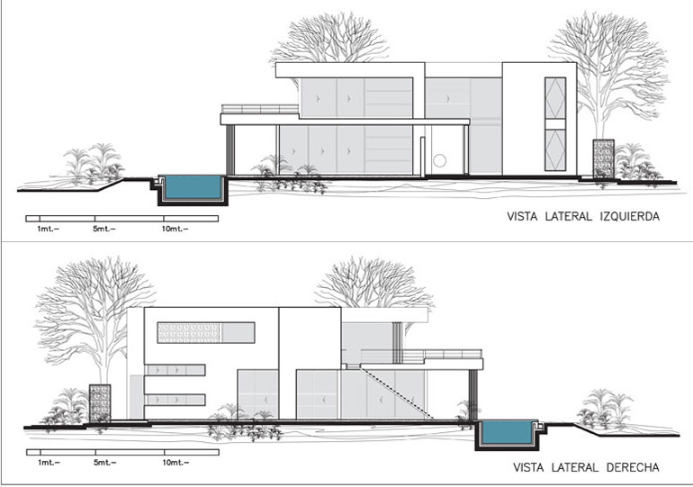 House Interior Elevation Plan : Elevations modern riverside house in buenos aires argentina