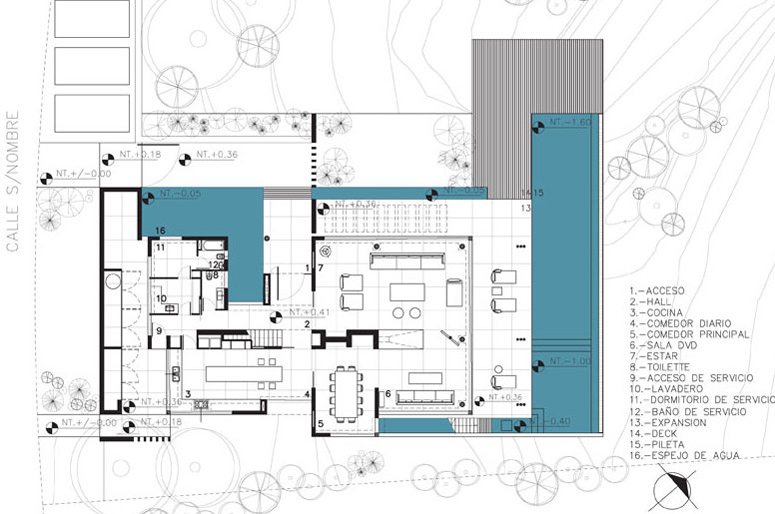 Ground Floor Plan, Modern Riverside House in Buenos Aires, Argentina