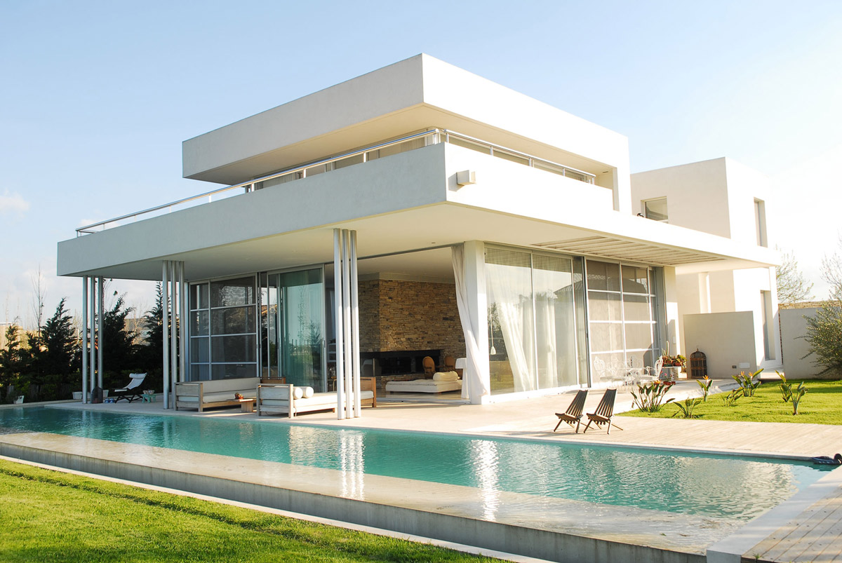 Large Pool, Terrace, Modern Riverside House in Buenos Aires, Argentina