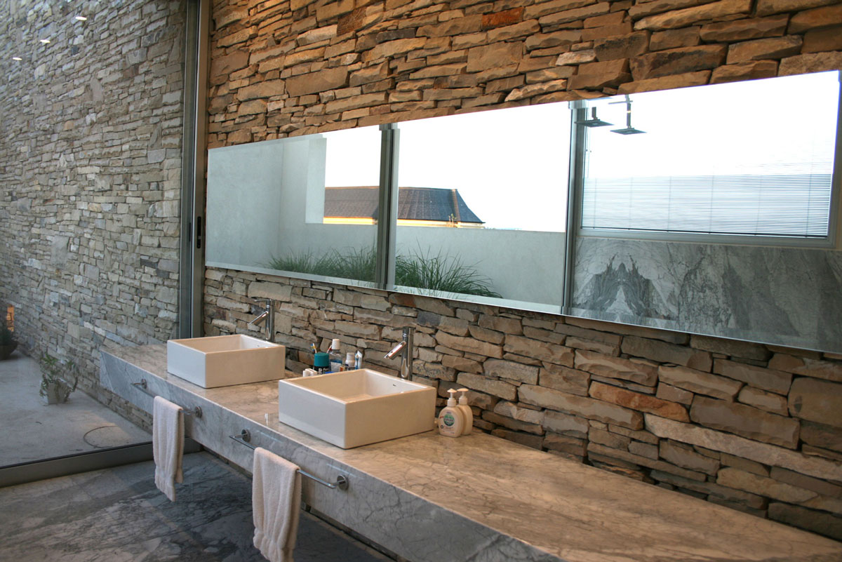 Stone and Marble Bathroom, Modern Riverside House in Buenos Aires, Argentina