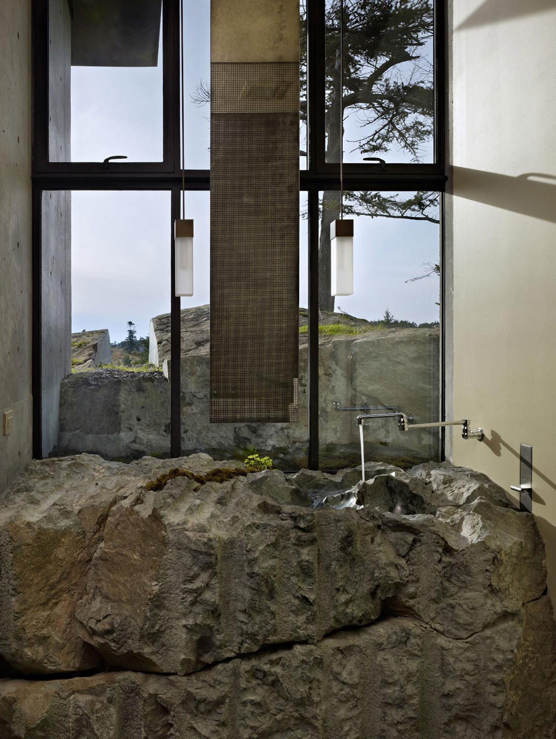 Natural Stone Sink, The Pierre on San Juan Island by Olson Kundig Architects