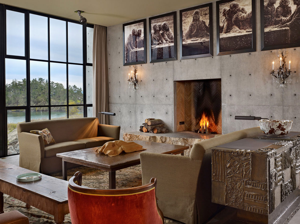 Fireplace, Sofas, Coffee Table, Living Space, The Pierre on San Juan Island by Olson Kundig Architects