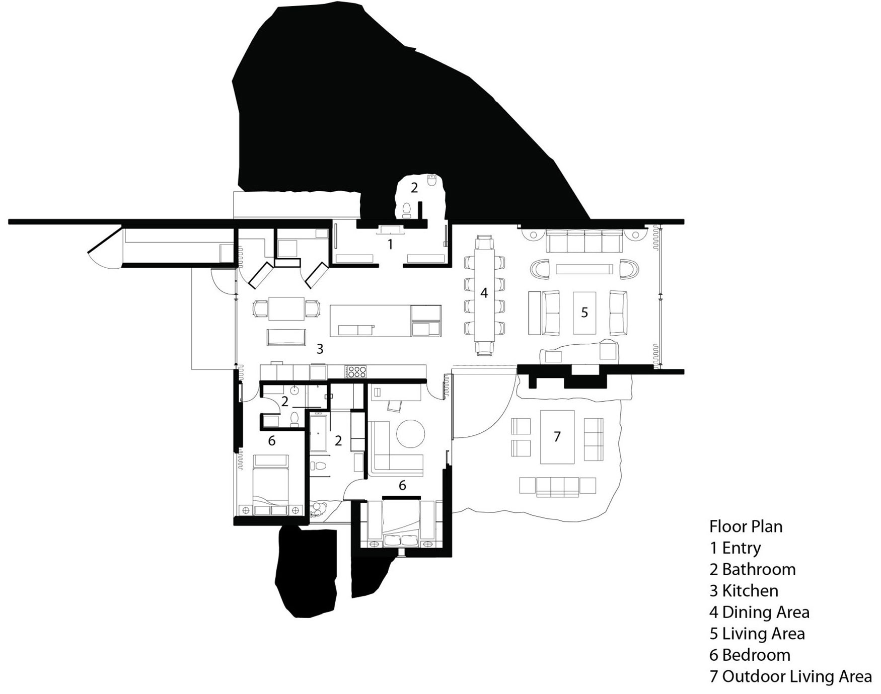 Floor Plan, The Pierre on San Juan Island by Olson Kundig Architects