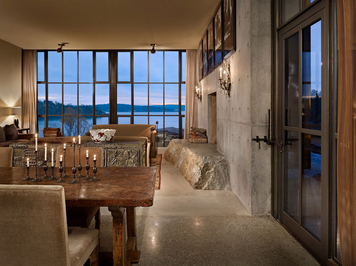 Rustic Dining Table, Glass Door, Water Views, The Pierre on San Juan Island by Olson Kundig Architects