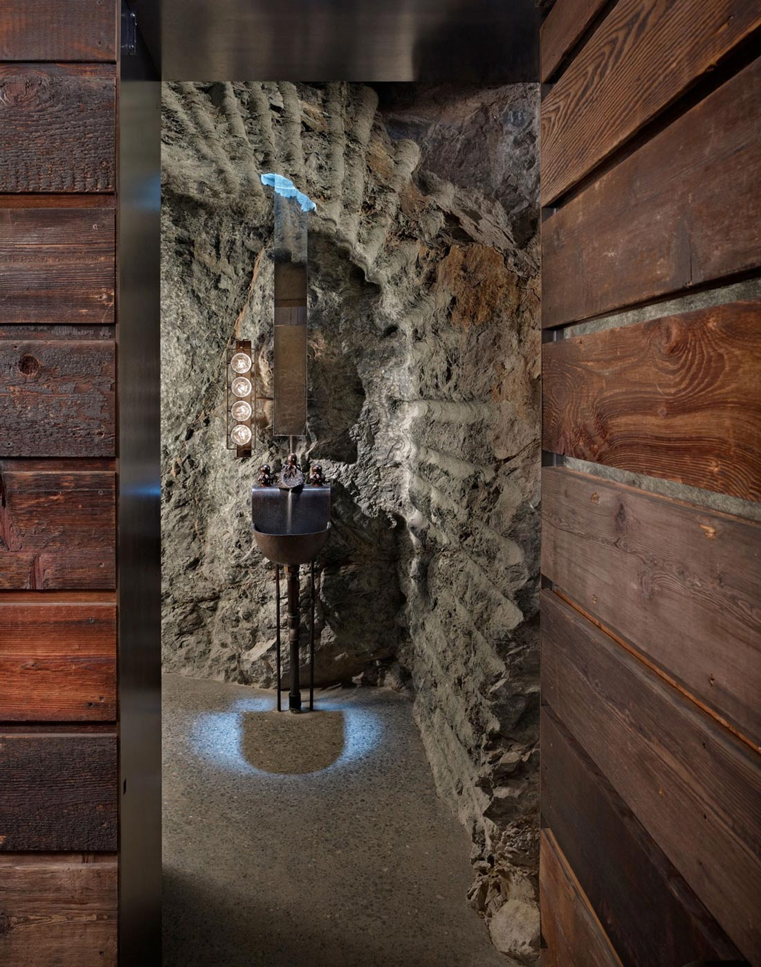 Rustic Sink, Stone Bathroom, The Pierre on San Juan Island by Olson Kundig Architects