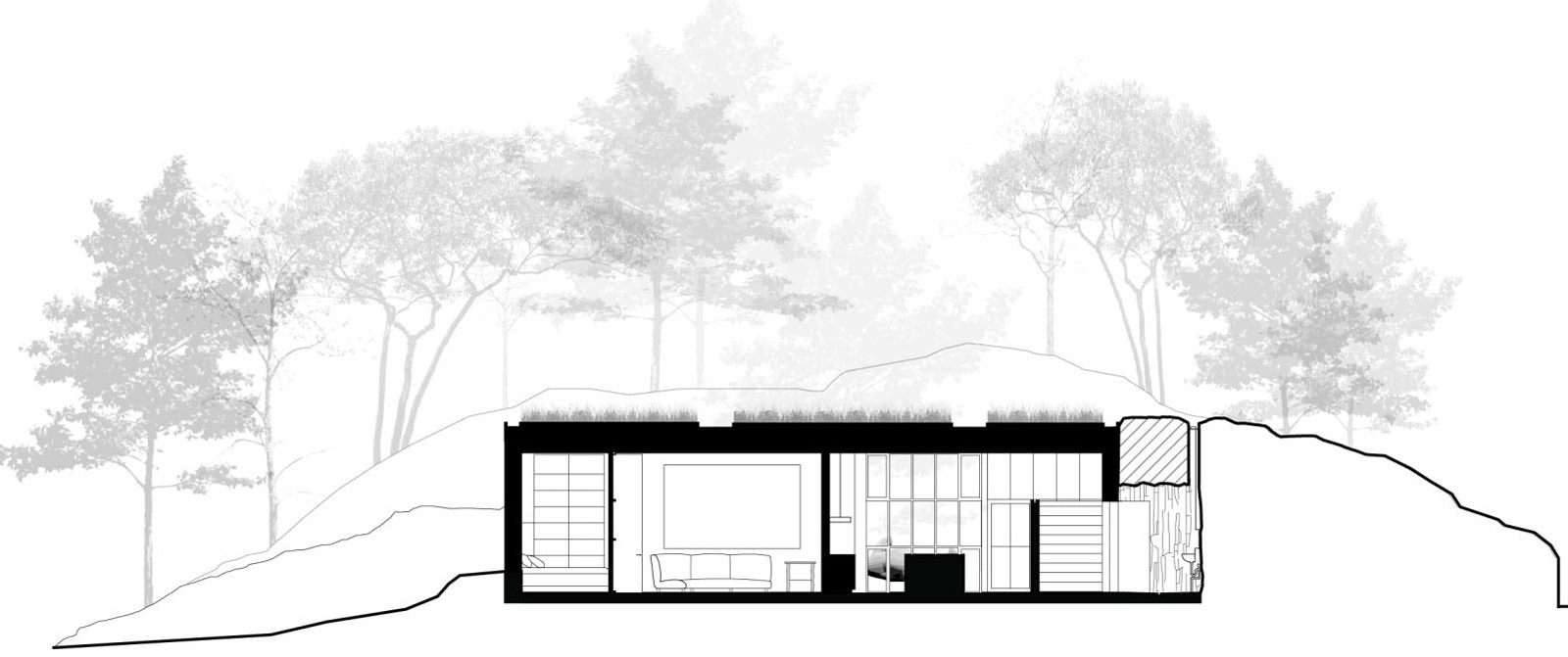 Section, The Pierre on San Juan Island by Olson Kundig Architects