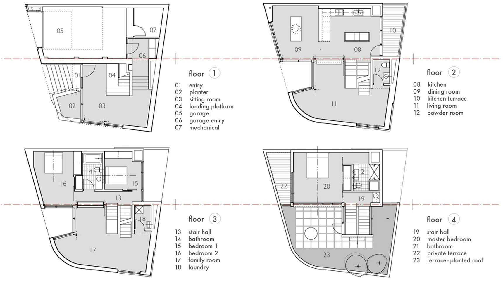 Floor Plans, Terrace, Split Level House in Philadelphia by Qb Design
