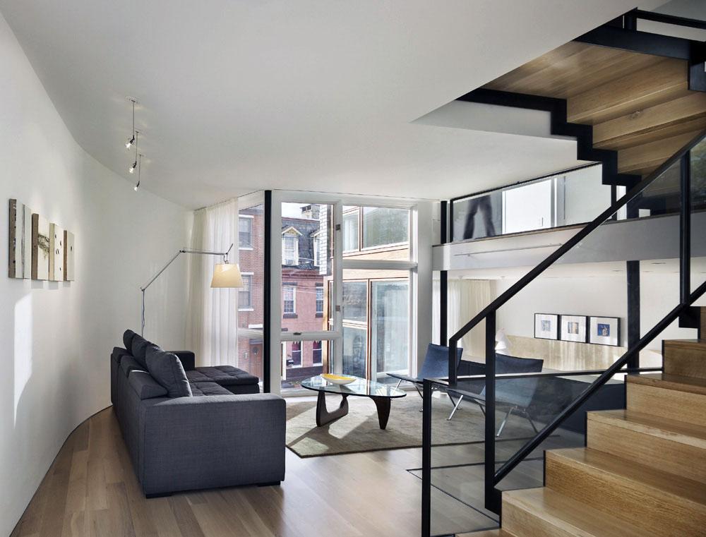 Living Space, Split Level House in Philadelphia by Qb Design