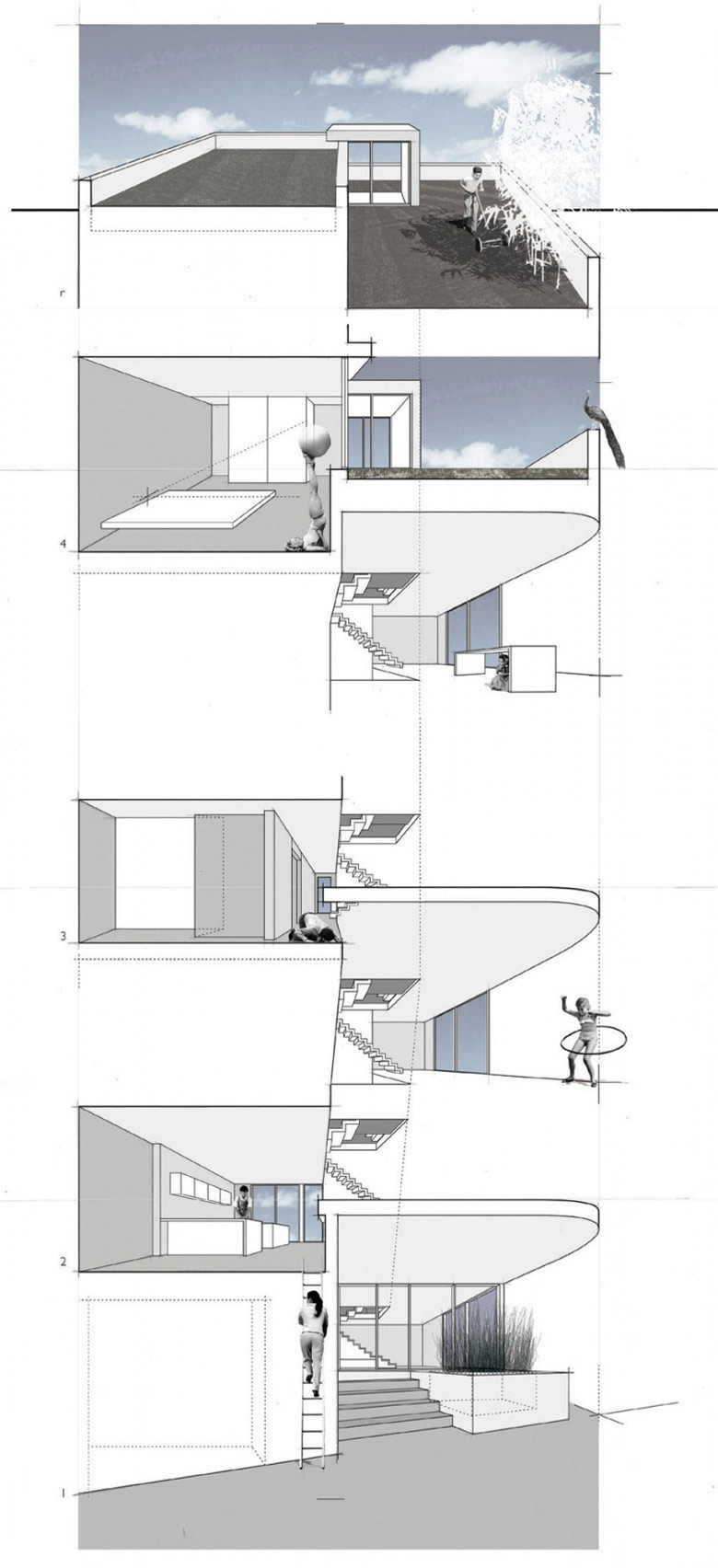 Diagram, Terrace, Split Level House in Philadelphia by Qb Design