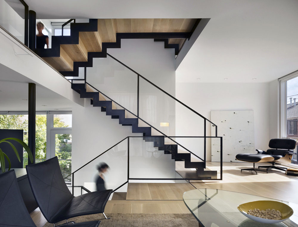 Stairs, Living Space, Split Level House in Philadelphia by Qb Design