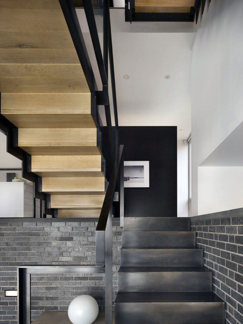Stairs, Split Level House in Philadelphia by Qb Design