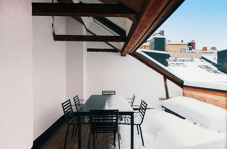 Balcony, Dining Table, Stylish Apartment in Stockholm, Sweden