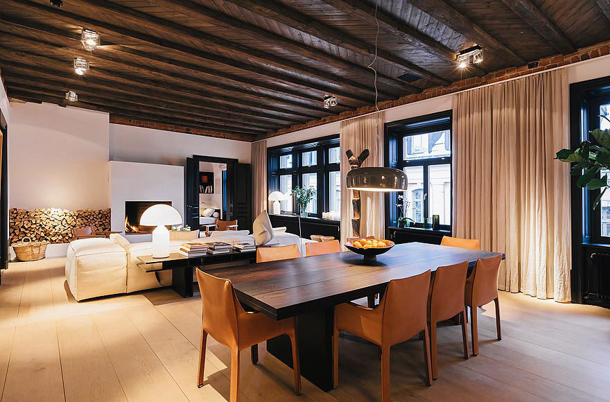 Dining Table, Lighting, Wood Store, Stylish Apartment in Stockholm, Sweden