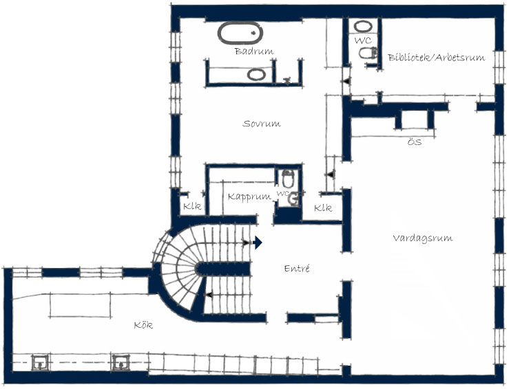 First Floor Plan, Stylish Apartment in Stockholm, Sweden