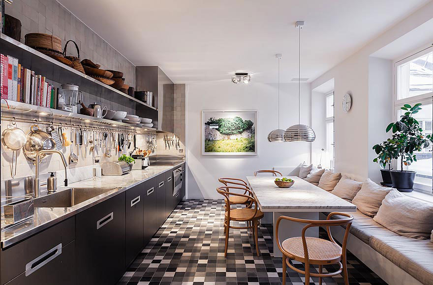 Kitchen, Breakfast Table, Stylish Apartment in Stockholm, Sweden