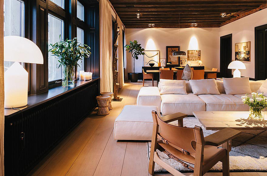 Open Plan Living, Dining Space, Stylish Apartment in Stockholm, Sweden