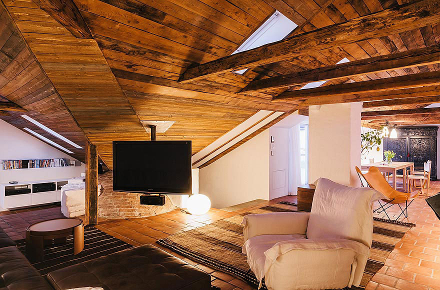 Rustic Ceiling, Living Space, Stylish Apartment in Stockholm, Sweden