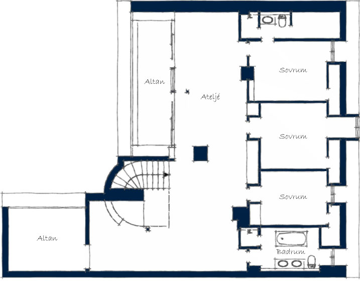 Second Floor Plan, Stylish Apartment in Stockholm, Sweden