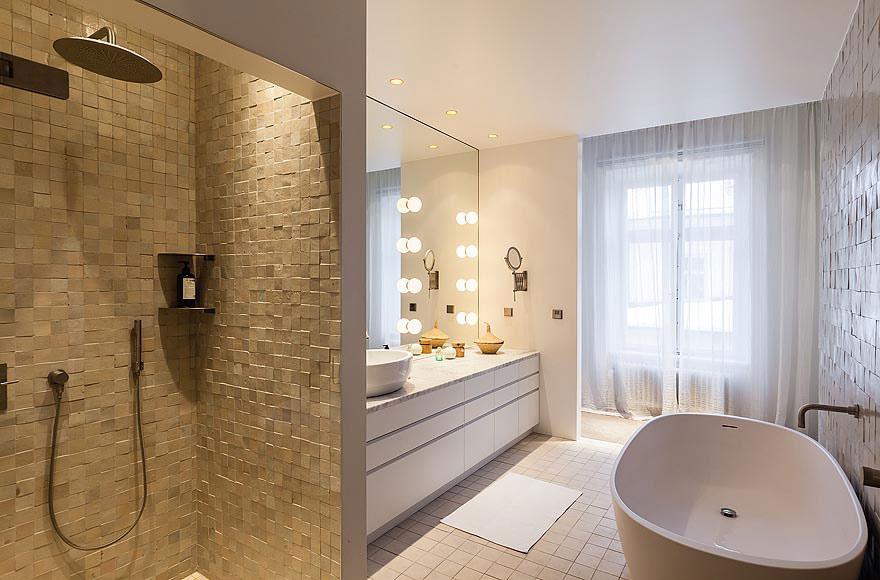 Shower, Bath, Large Mirror, Stylish Apartment in Stockholm, Sweden