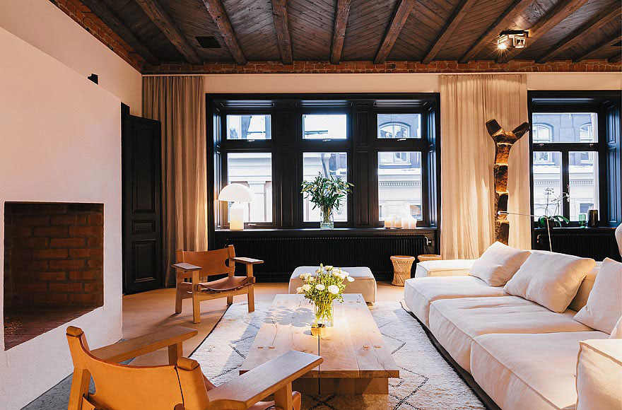 Modern Fireplace, Stylish Apartment in Stockholm, Sweden