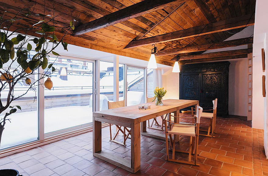 Wooden Dining Table, Stylish Apartment in Stockholm, Sweden