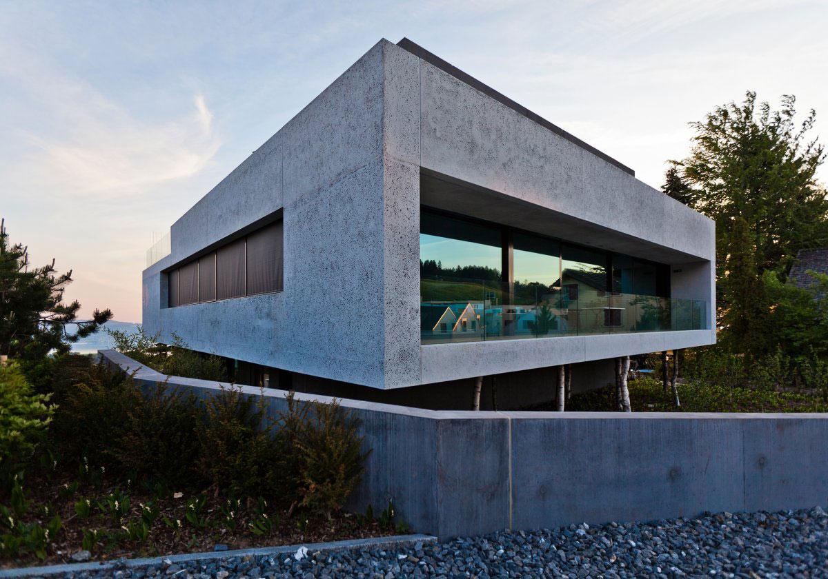 Concrete Block, Glass Balustrading, Villa Wohnen in Schindellegi, Switzerland by SimmenGroup