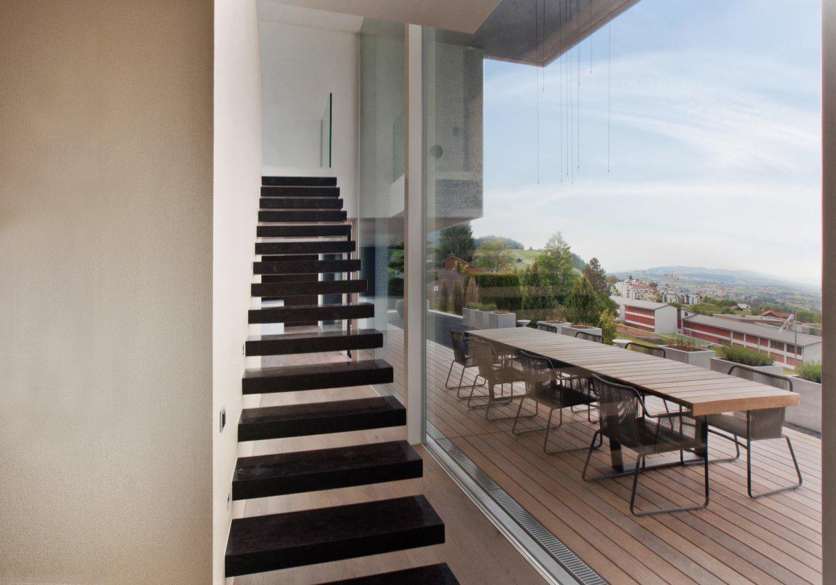 Floating Stairs, Glass Wall, Views, Villa Wohnen in Schindellegi, Switzerland by SimmenGroup