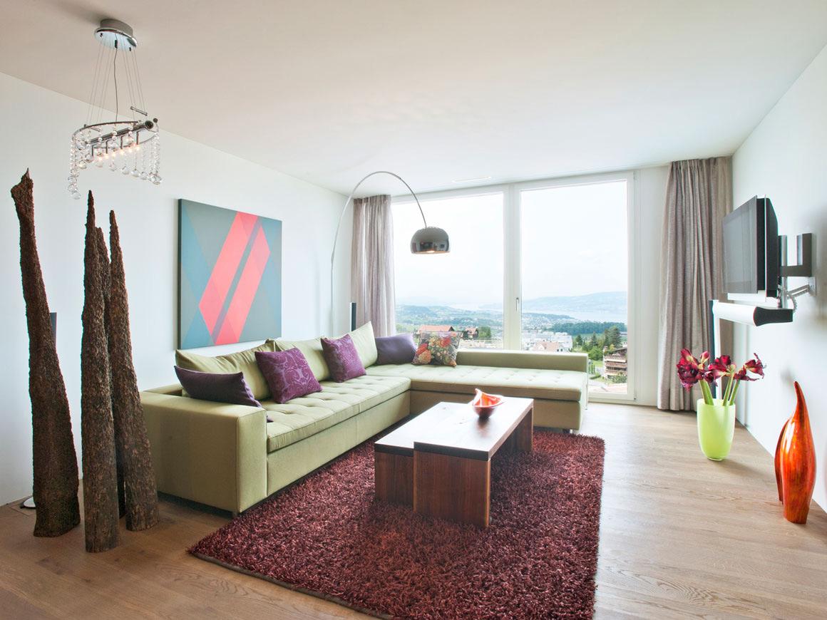 Green Sofa, Rug, Art, Villa Wohnen in Schindellegi, Switzerland by SimmenGroup