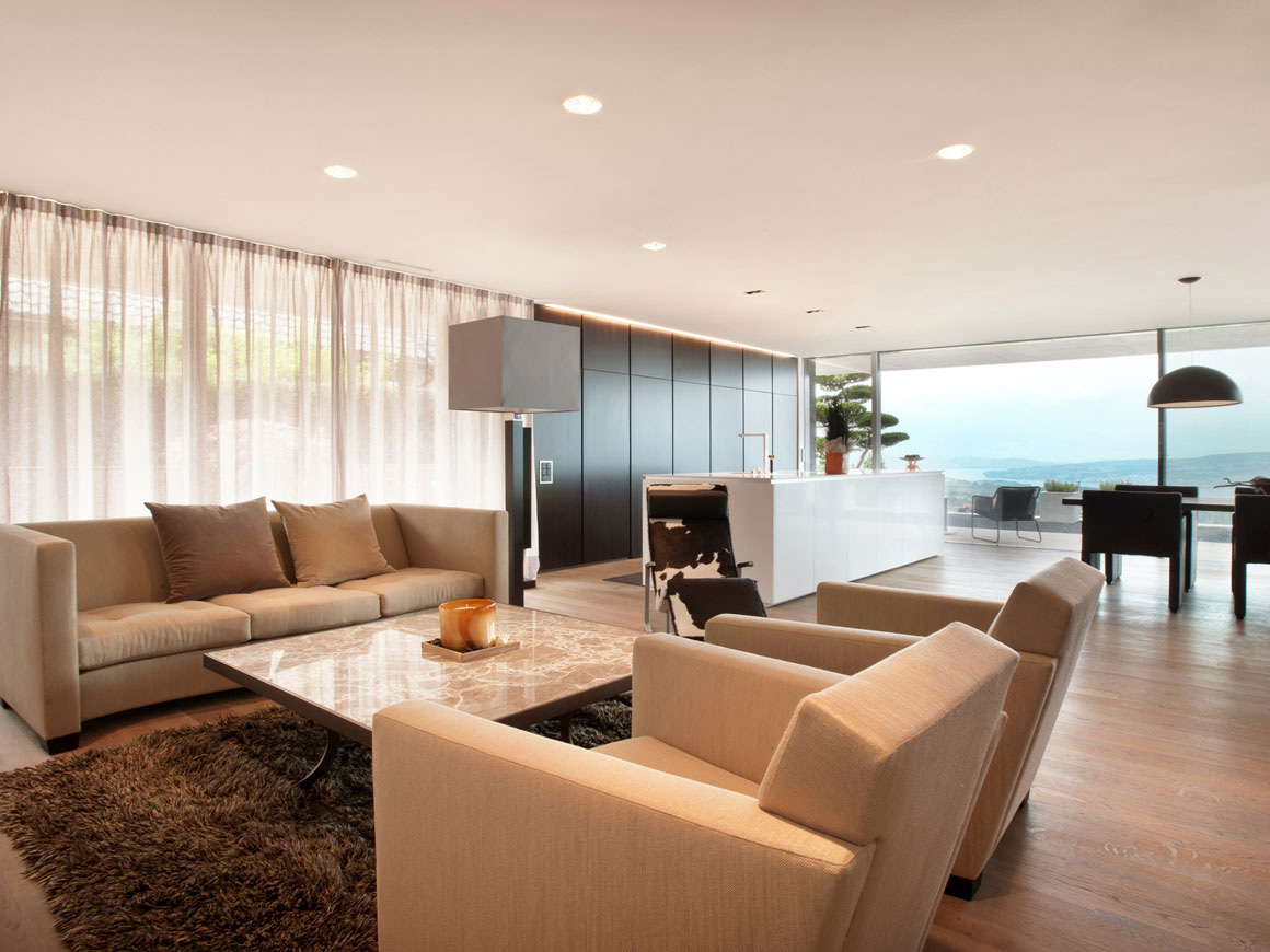 Rug, Sofas, Living Space, Villa Wohnen in Schindellegi, Switzerland by SimmenGroup