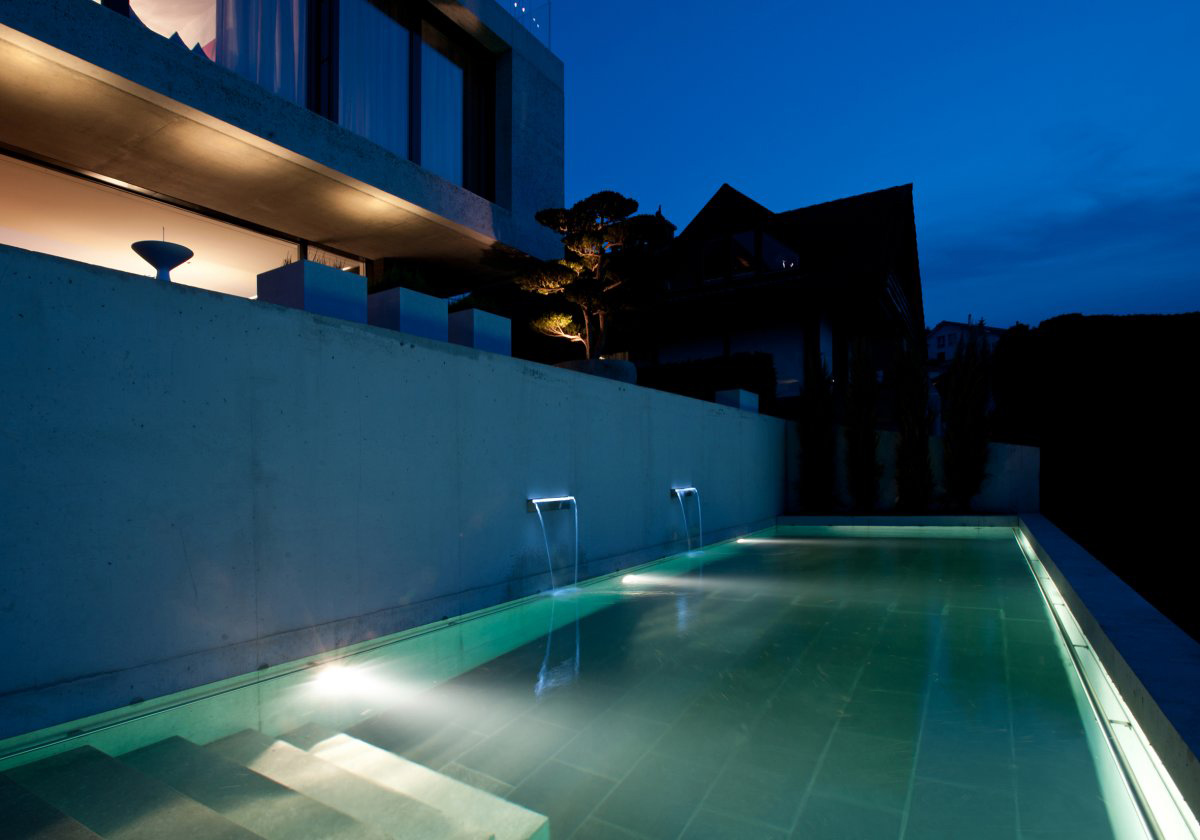 Swimming Pool, Waterfalls, Villa Wohnen in Schindellegi, Switzerland by SimmenGroup